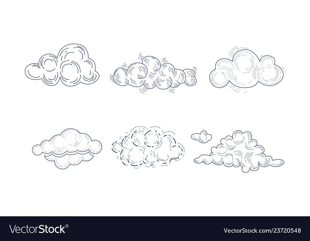 Set of fluffy clouds in sketch style