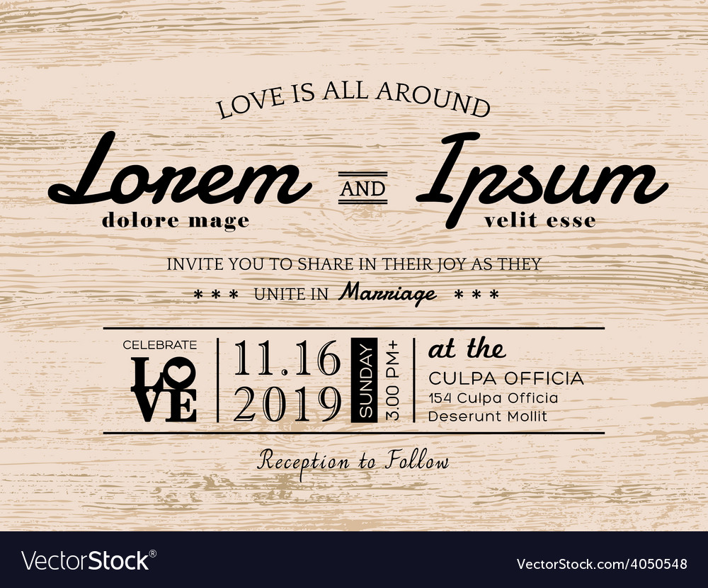 Vintage typography Wedding invitation card design Vector Image