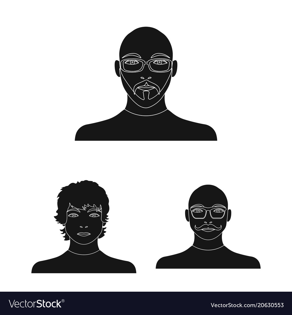 Avatar and face black icons in set collection for