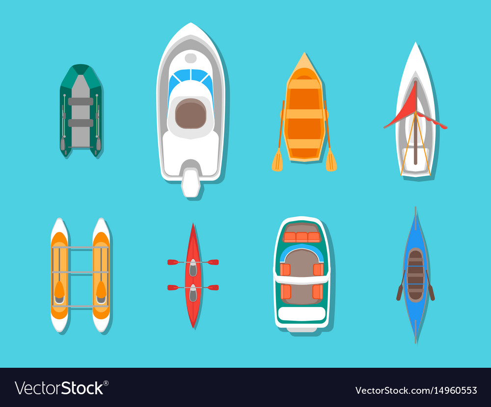 Cartoon color boats icons set top view