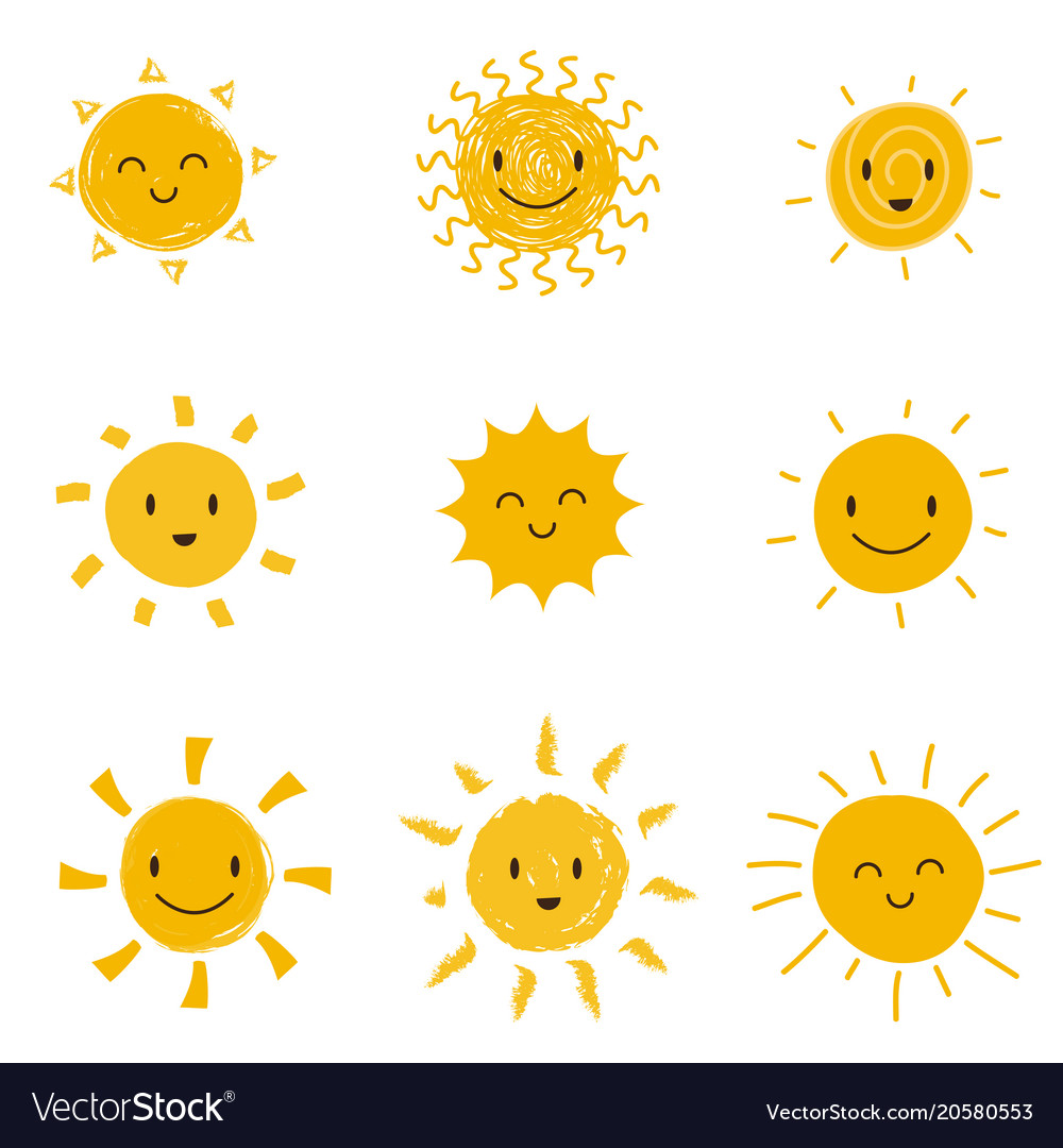Cute happy sun with smiley face summer sunshine vector image