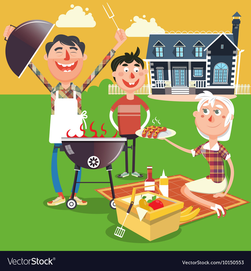 Family barbecue picnic cartoon Royalty Free Vector Image
