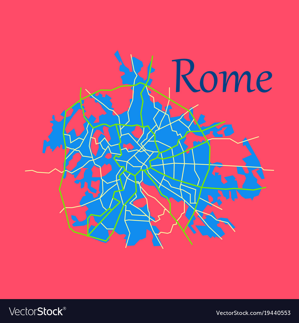 Flat city map of rome with well organized