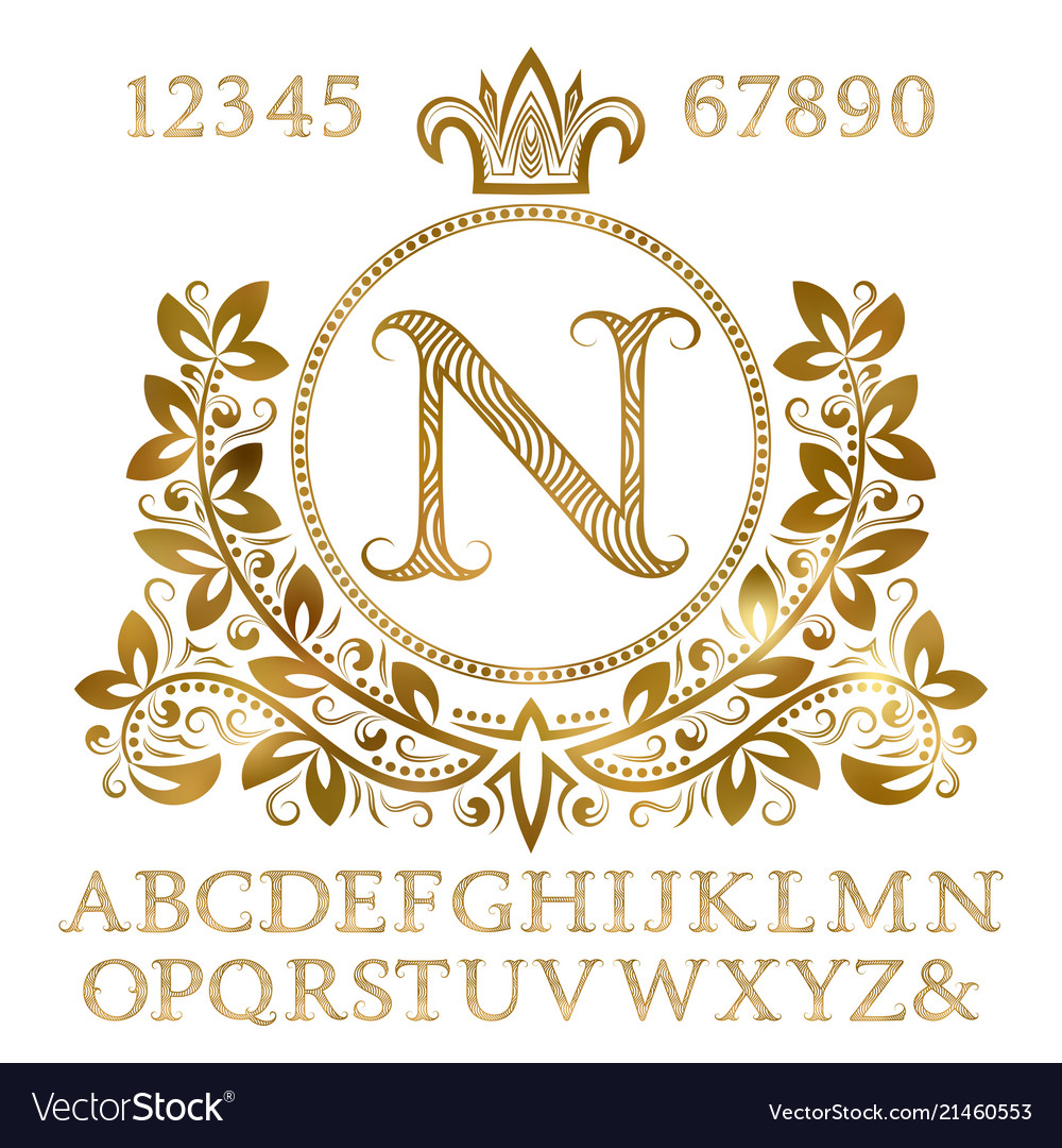 Golden letters and numbers with initial monogram