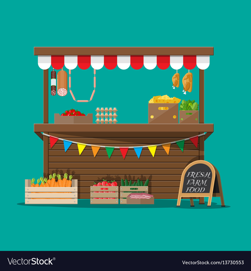 Market food stall full of groceries products vector image