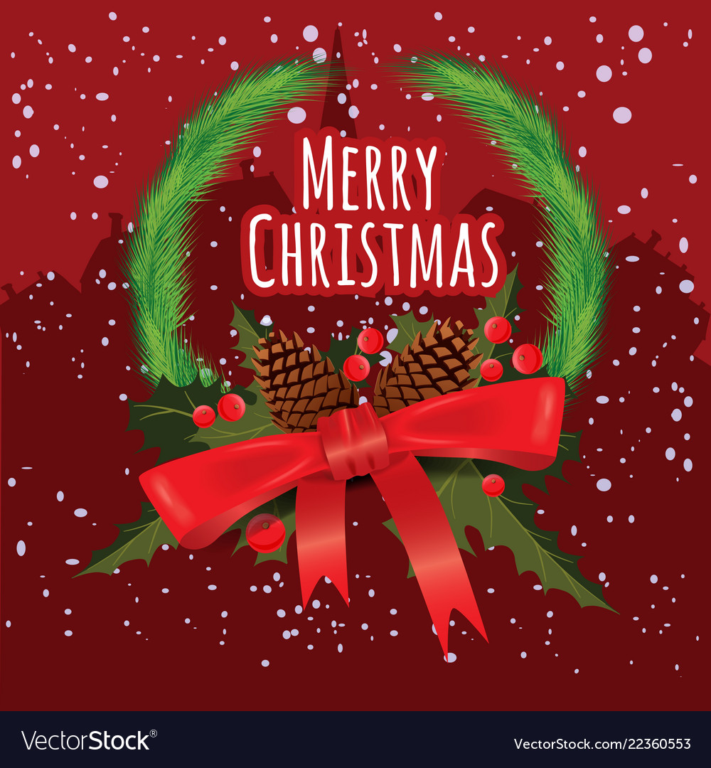 Merry christmas greeting card with chrirstmas Vector Image