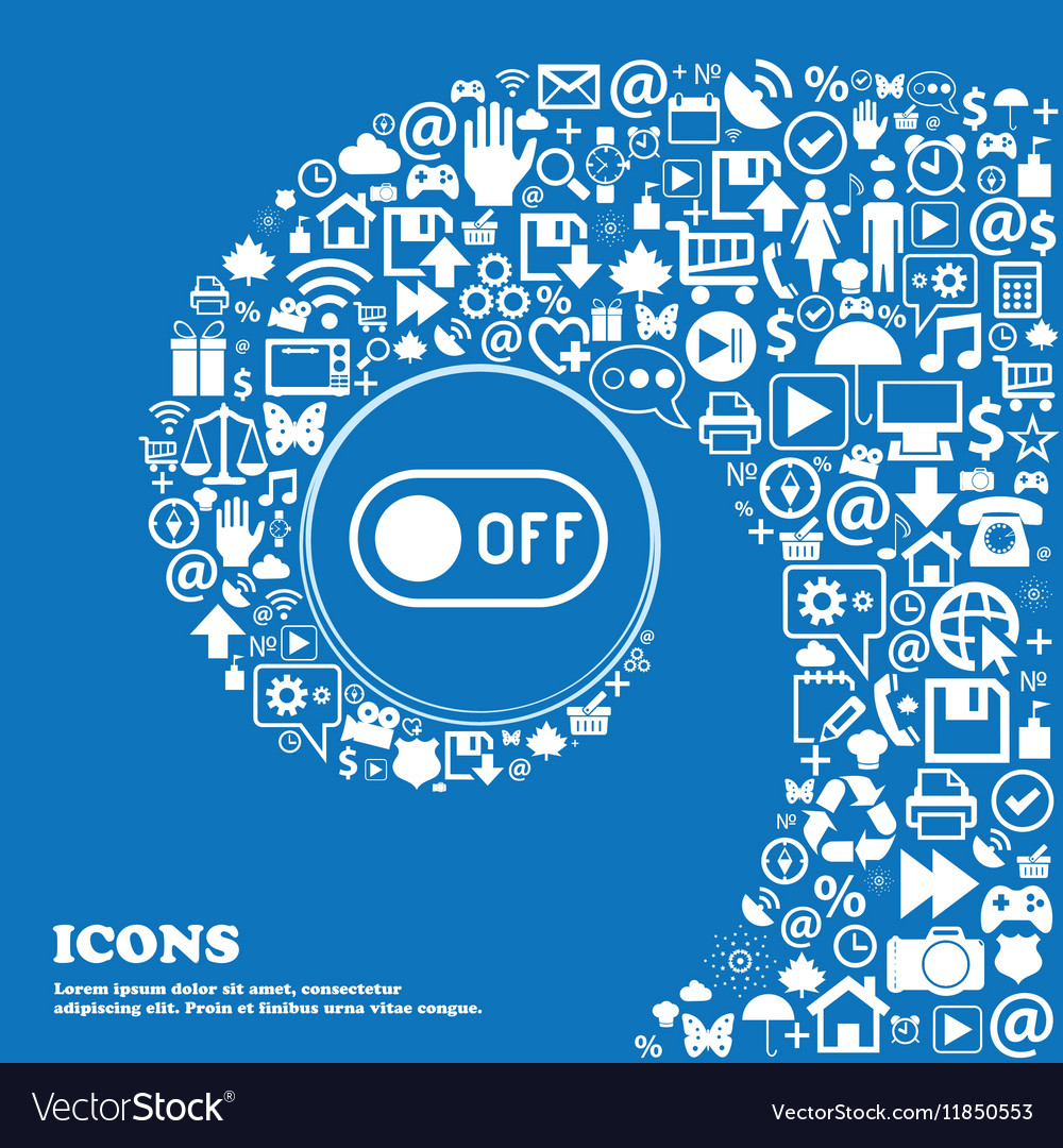 Off icon sign Nice set of beautiful icons twisted vector image