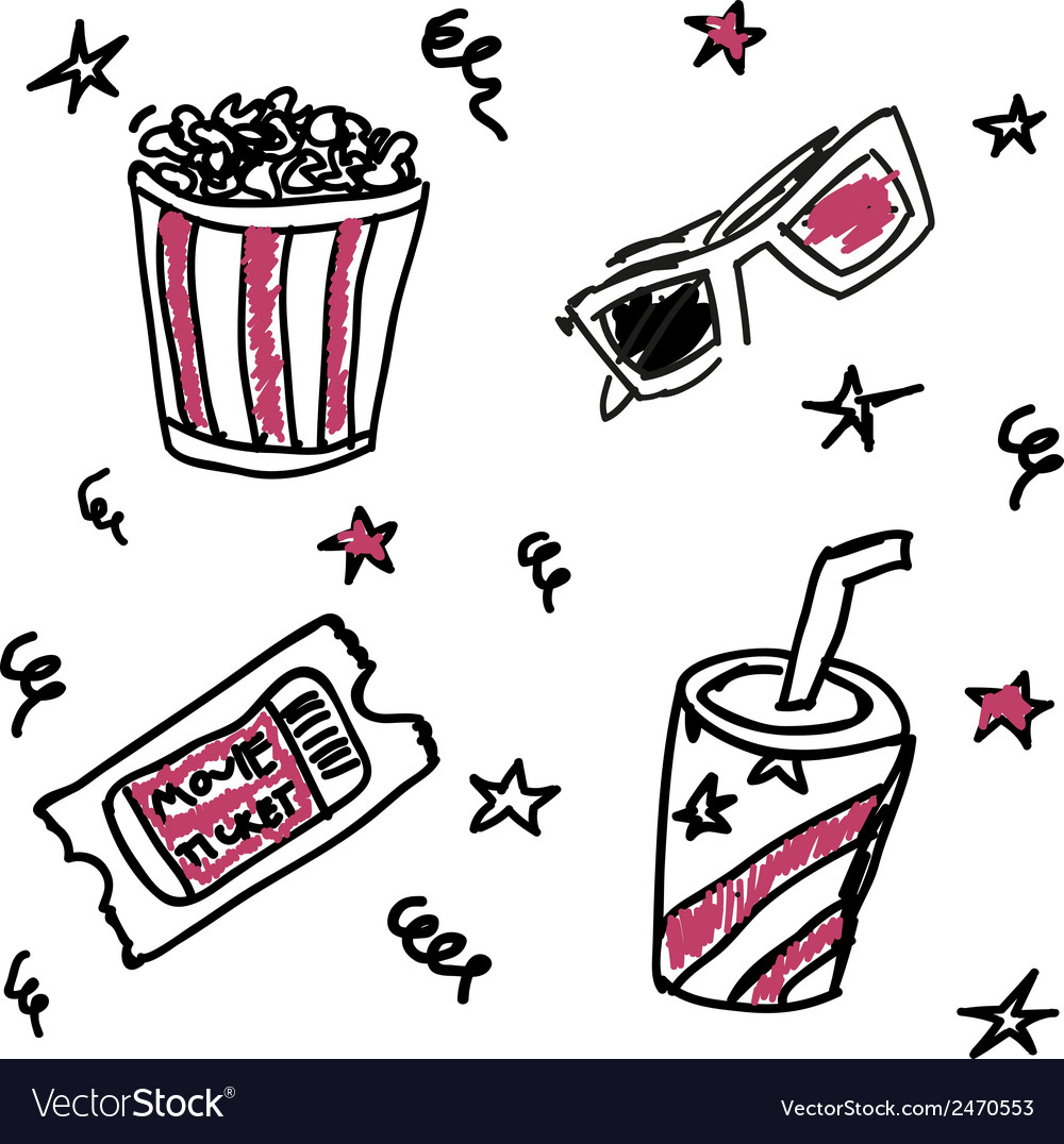 Set of doodle cinema icons