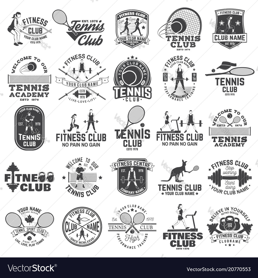 Set of fitness and tennis club concept with girls