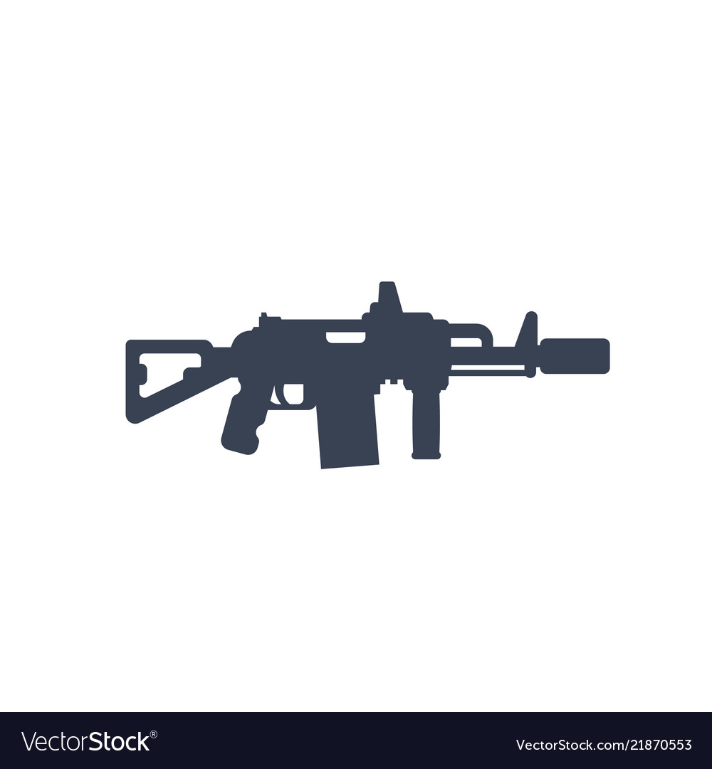 Tactical assault rifle with silencer icon