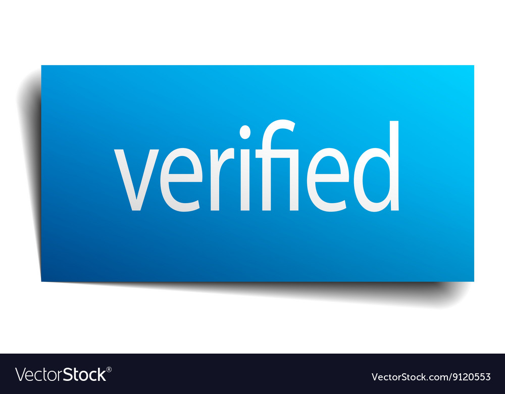 Verified blue paper sign isolated on white