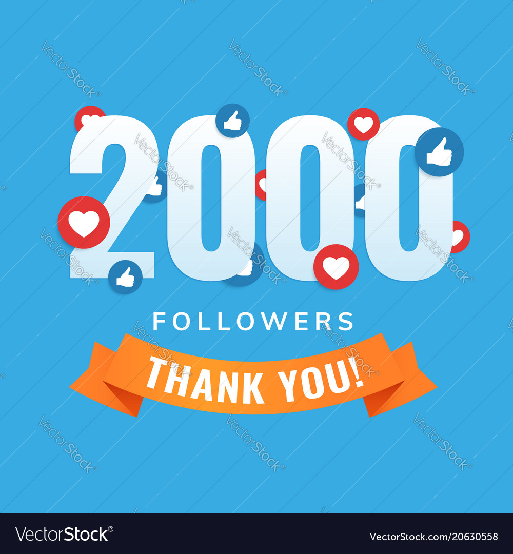 2000 Followers Social Sites Post Greeting Card Vector Image