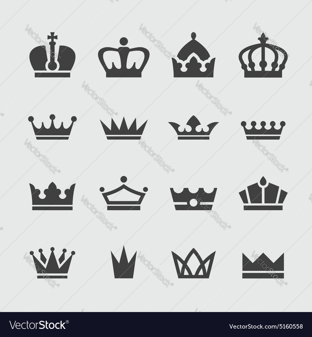 Black crown icons set