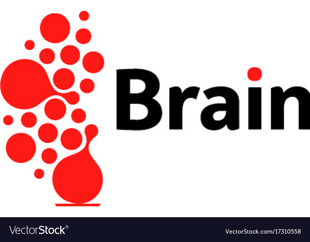 Brain hemispheres logo red round shapes abstract