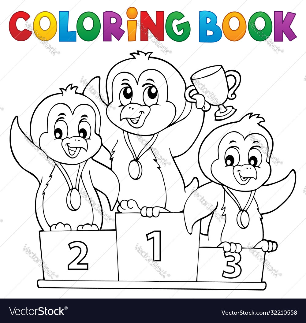 Coloring book penguin winners theme 1