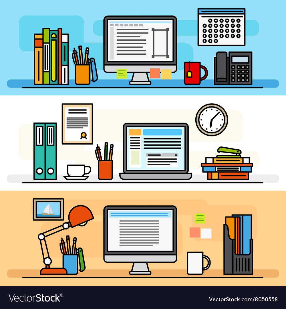 Designer workspace flat design concept