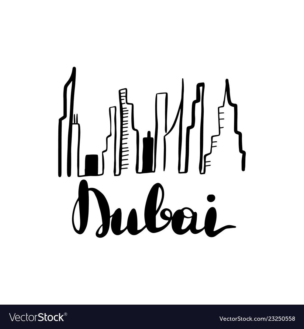 Dubai landscape line art