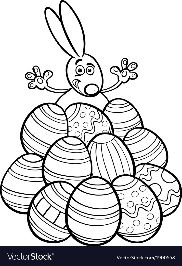 Easter Bunny And Eggs Coloring Page Royalty Free Vector