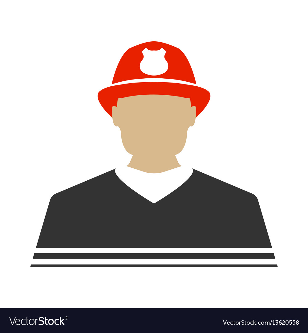 Firefighter flat icon protect and serve label