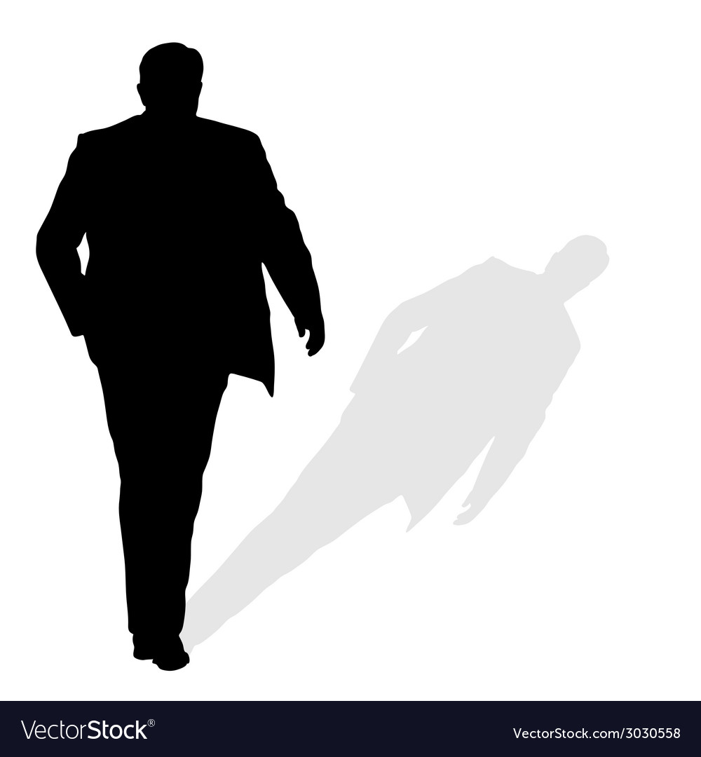 Man walking silhouette art with shadow Royalty Free Vector