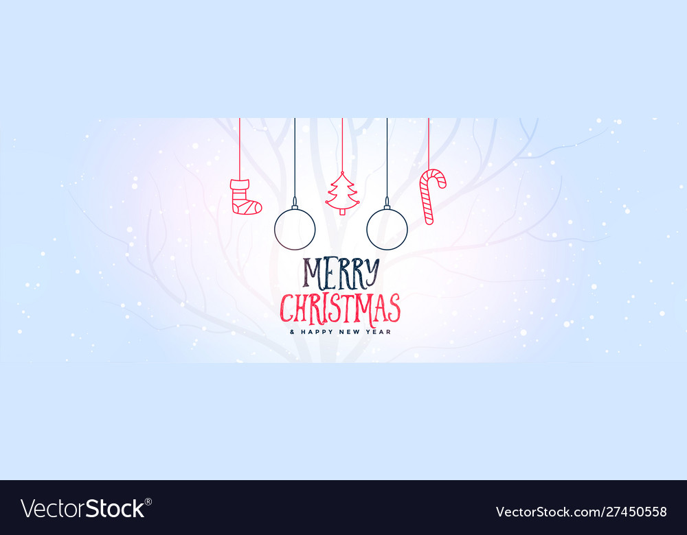 Merry christmas white banner with decorative