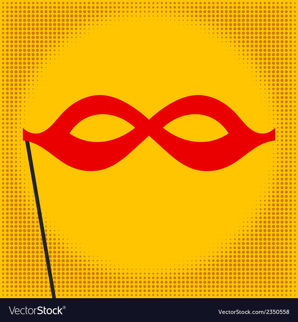 Red mask on yellow background Pop art
