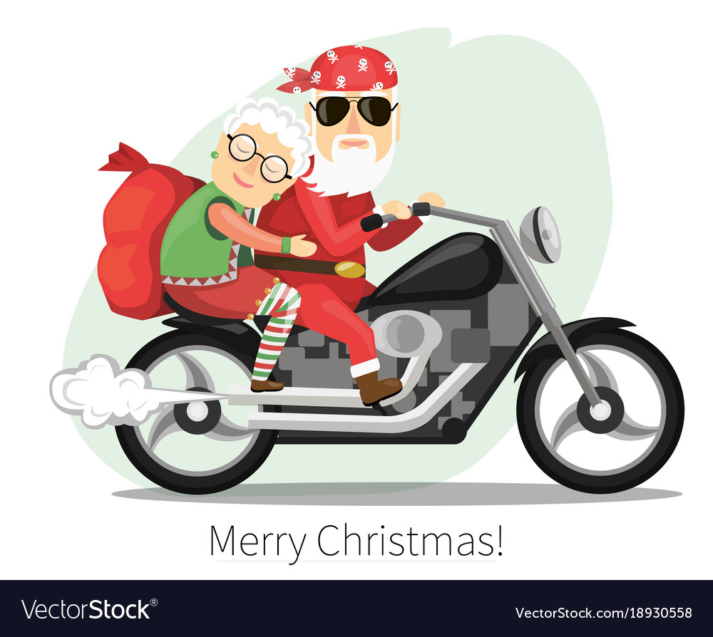Santa claus and mrs riding on a steep motorcycle