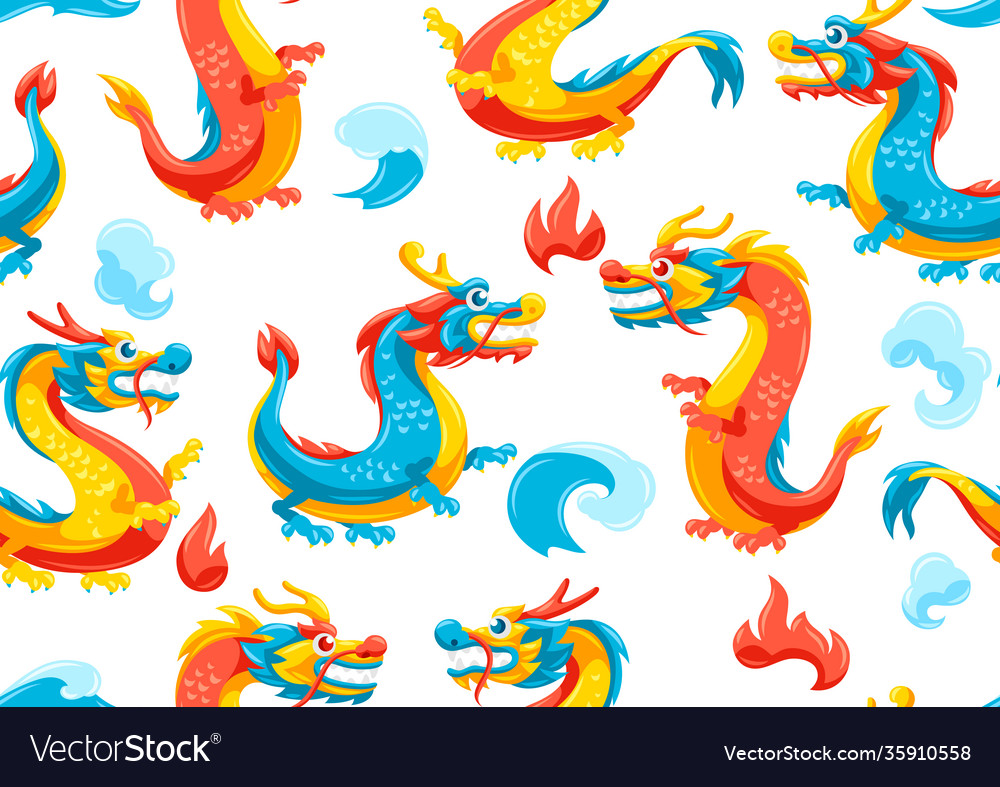 Seamless pattern with chinese dragons
