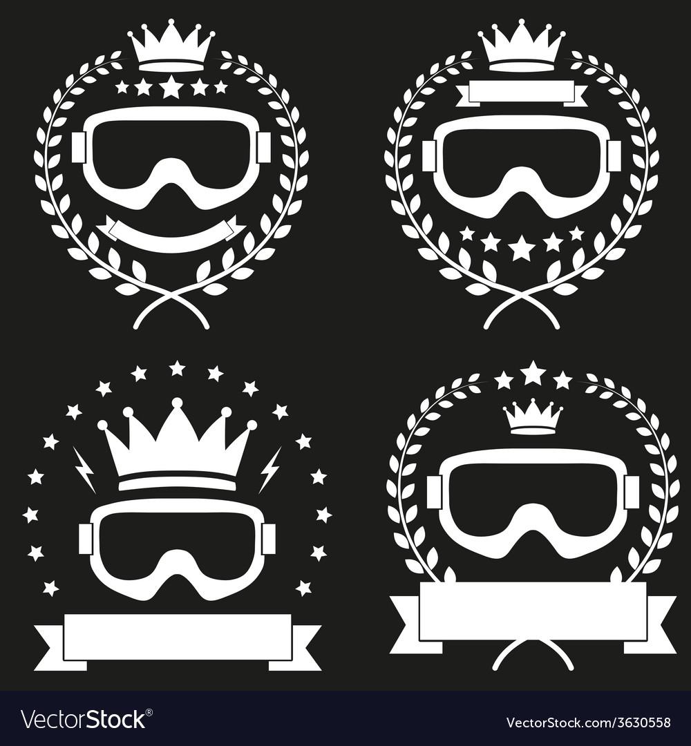 Set of Vintage Ice Snowboarding or SKI Club Badge vector image