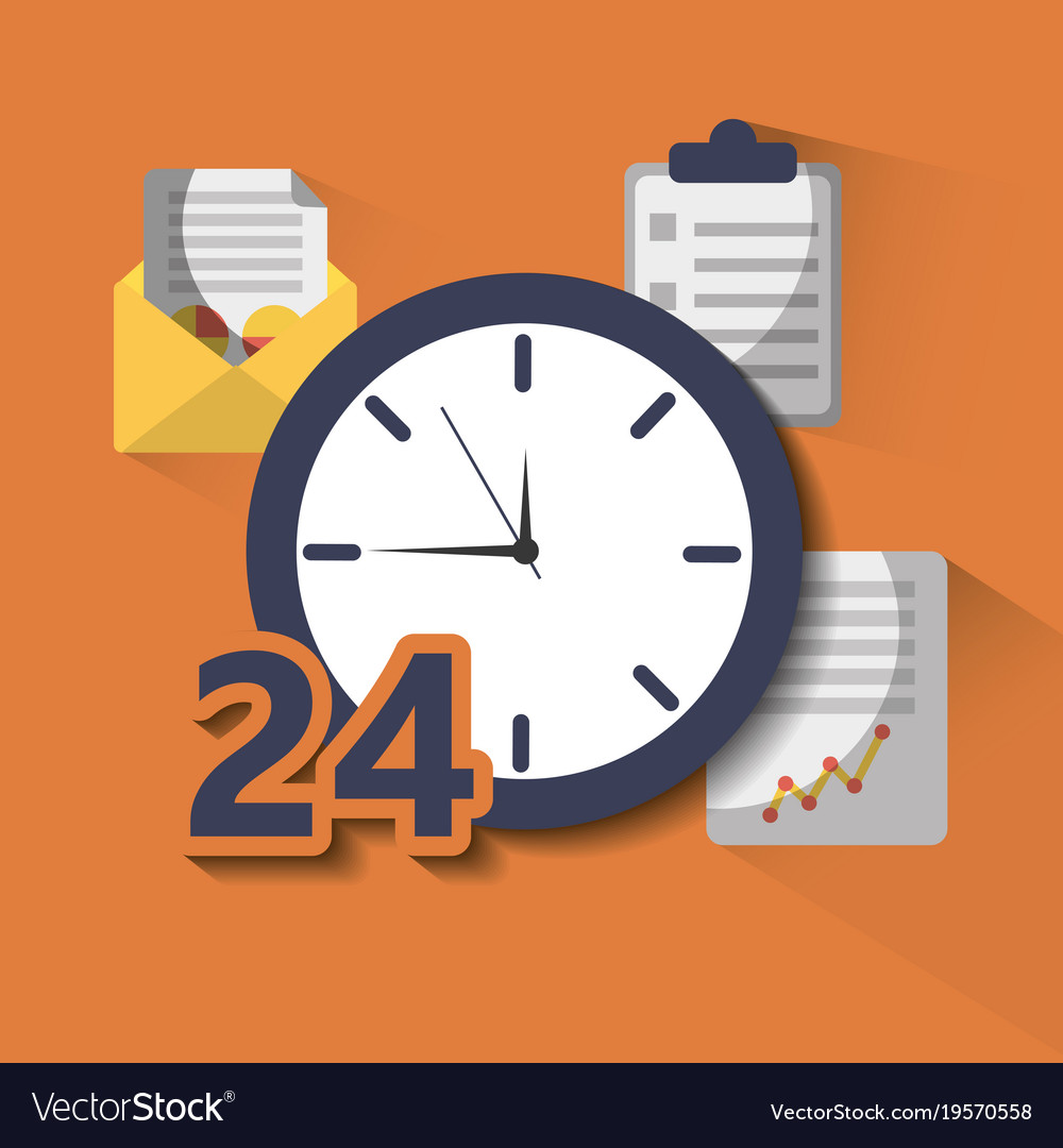 time clock service 24 help hour work royalty free vector
