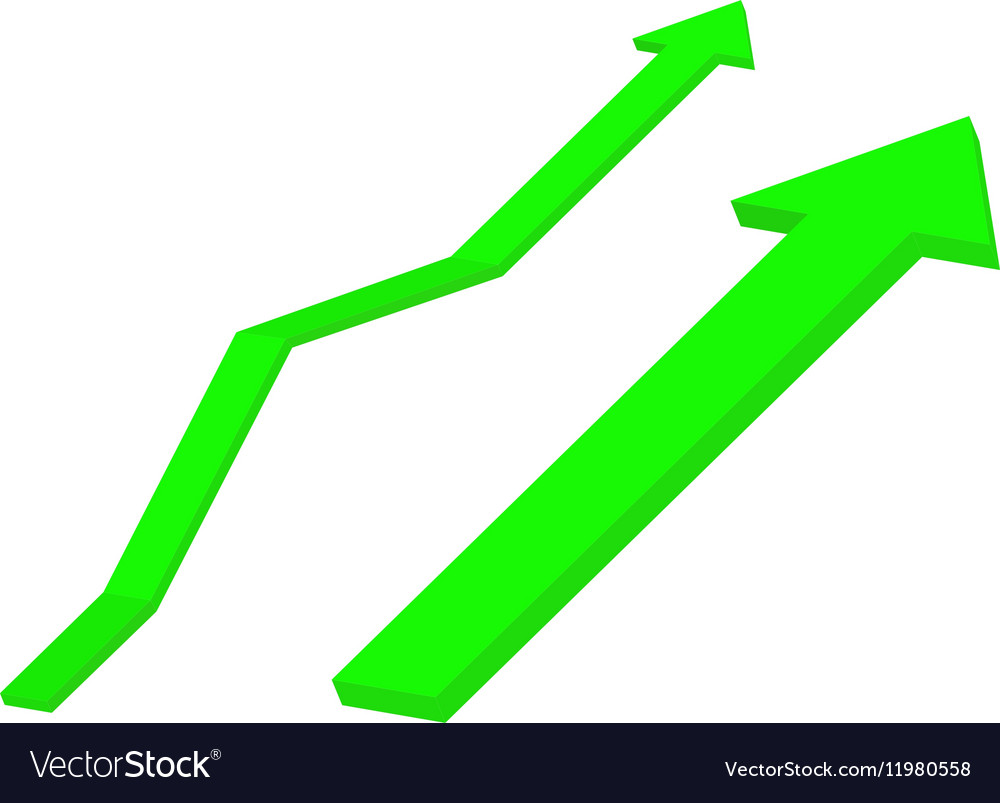 Up green arrow Rising trend vector image