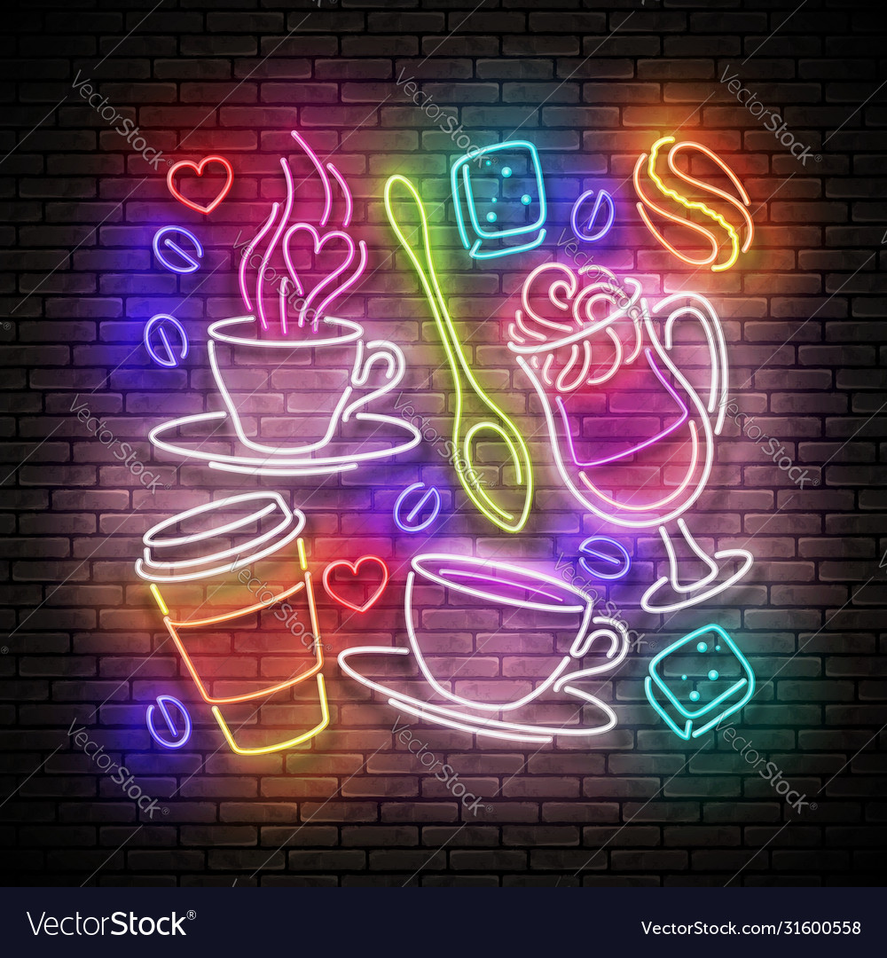 Vintage glow signboard with a cups different