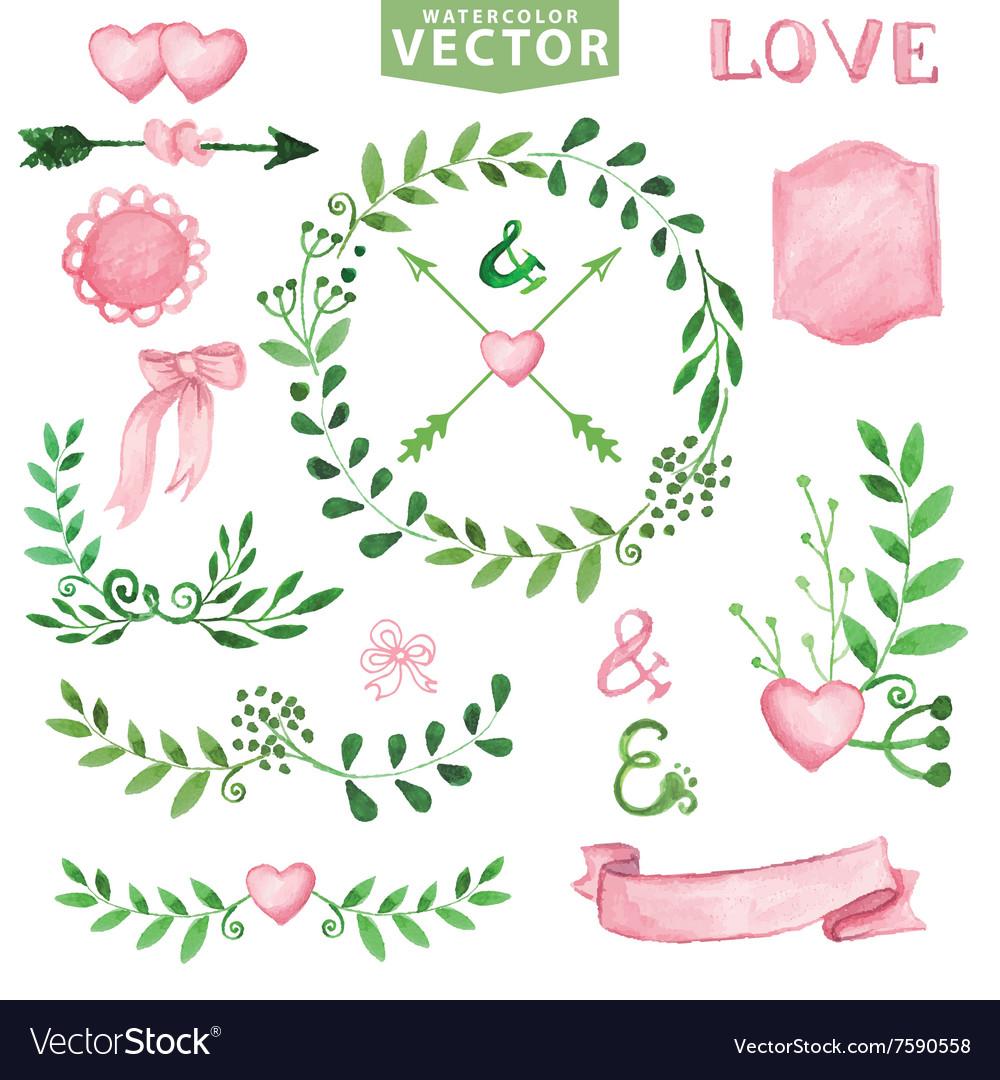 Watercolor wedding setbrancheslaurels wreath