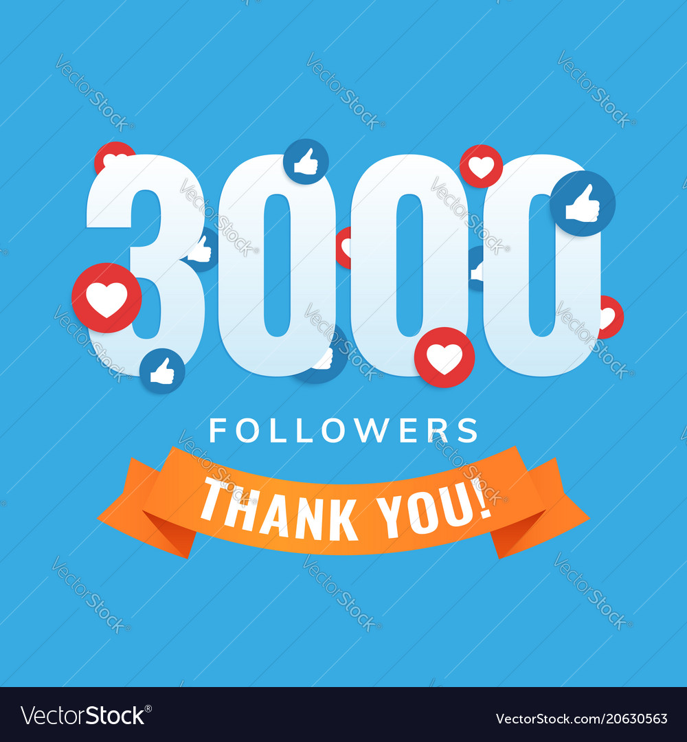 3000 followers social sites post greeting card