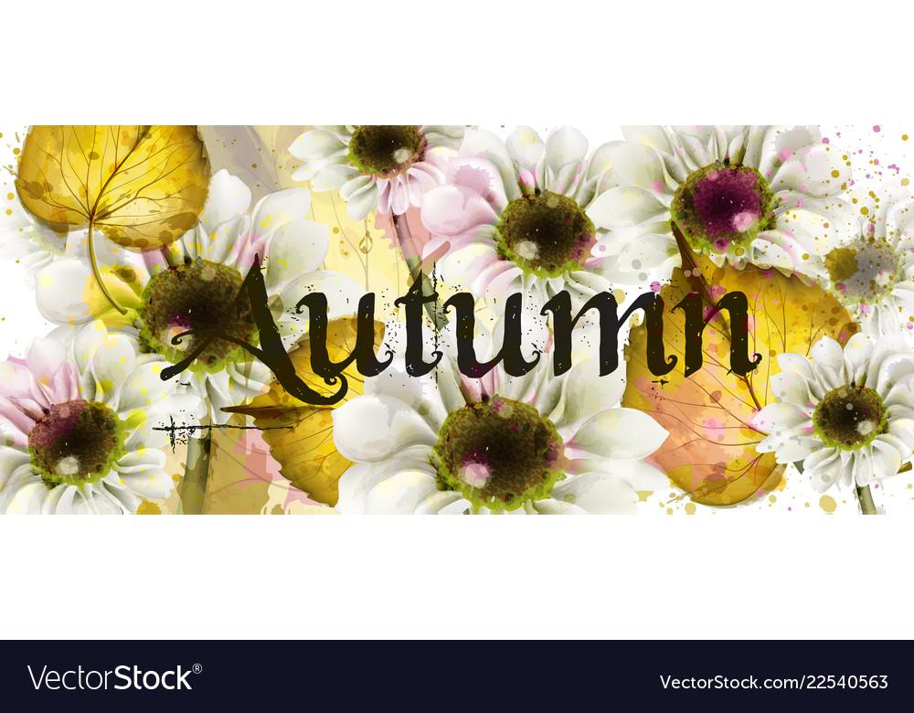 Autumn flowers watercolor floral banner