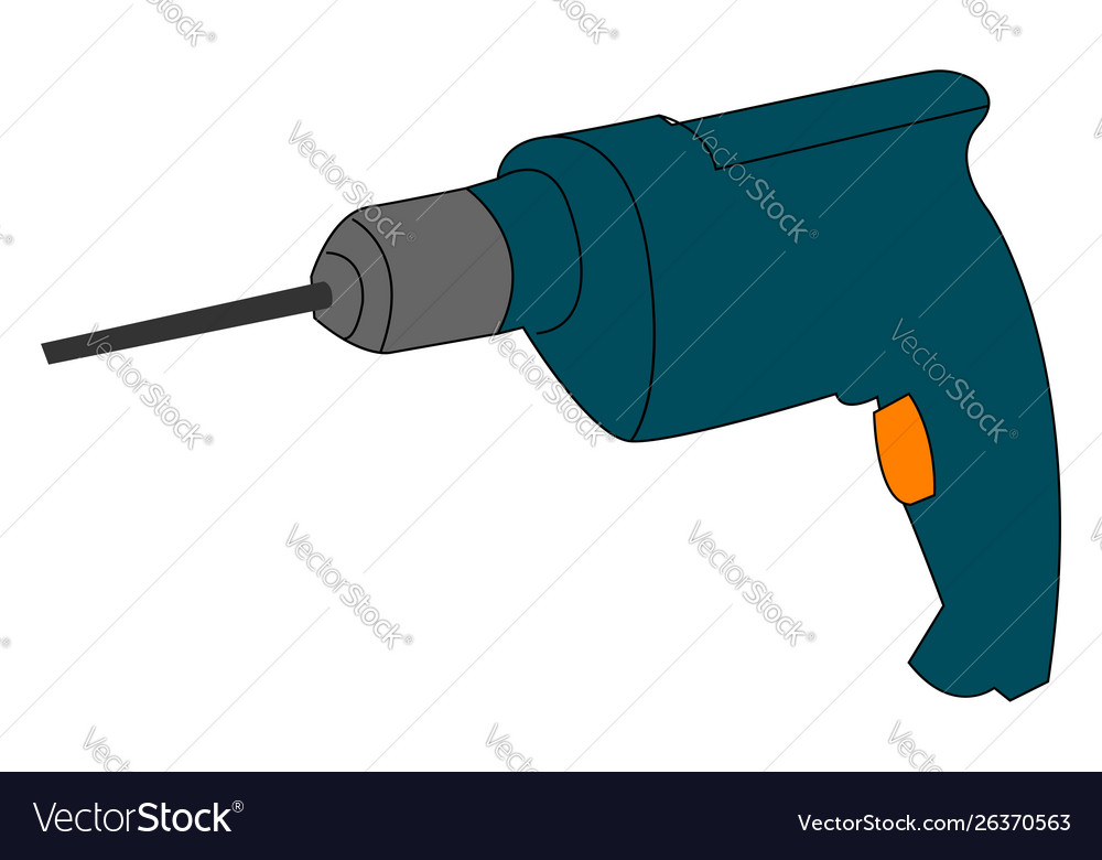 Blue drill on white background