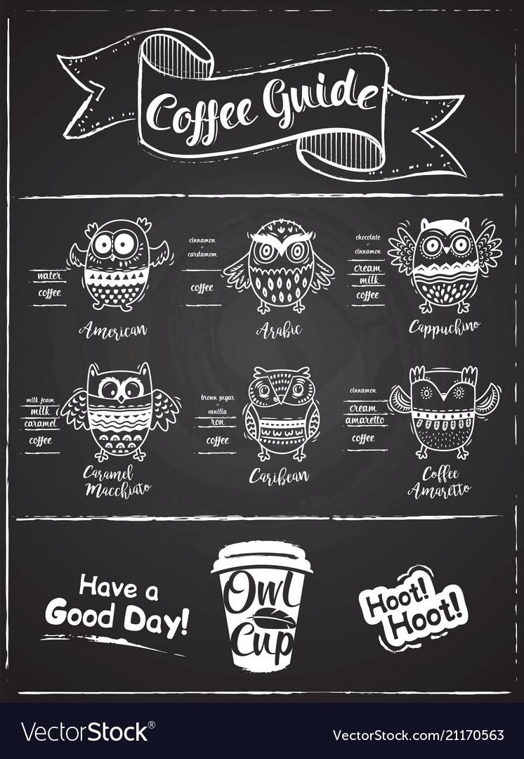 coffee menu design the coffee drinks infographics vector image