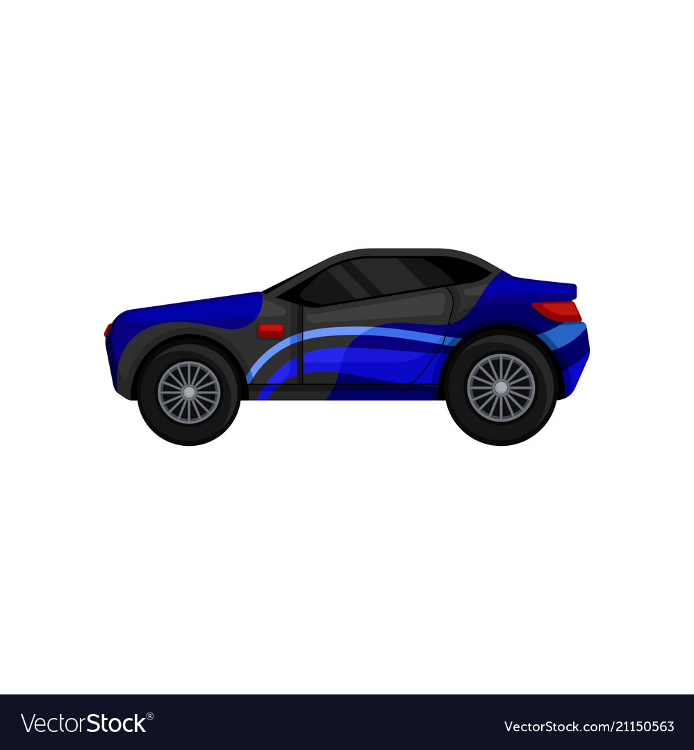 Fast racing car with large tires tinted windows