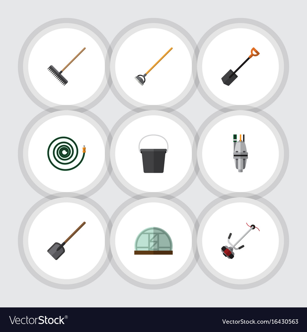 Flat icon dacha set of pail tool spade and other