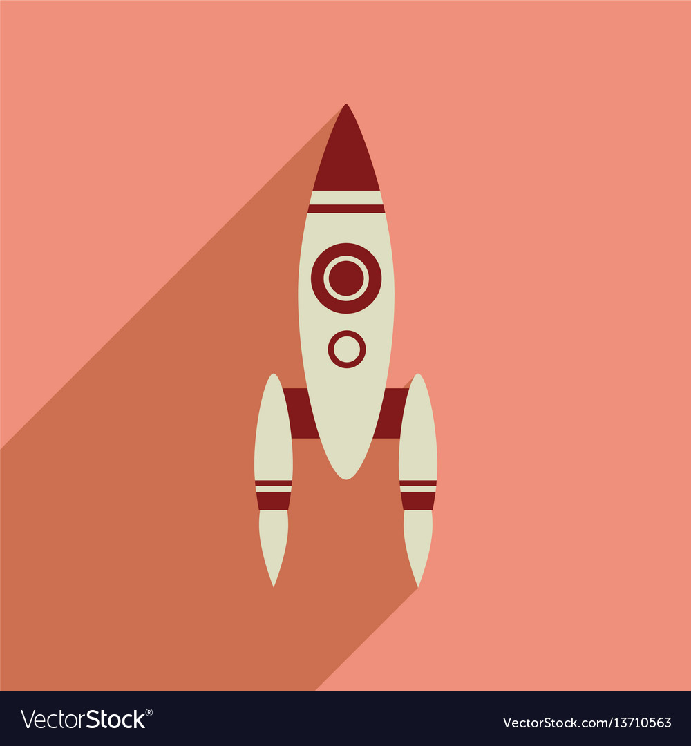 Flat web icon with long shadow rocket Royalty Free Vector