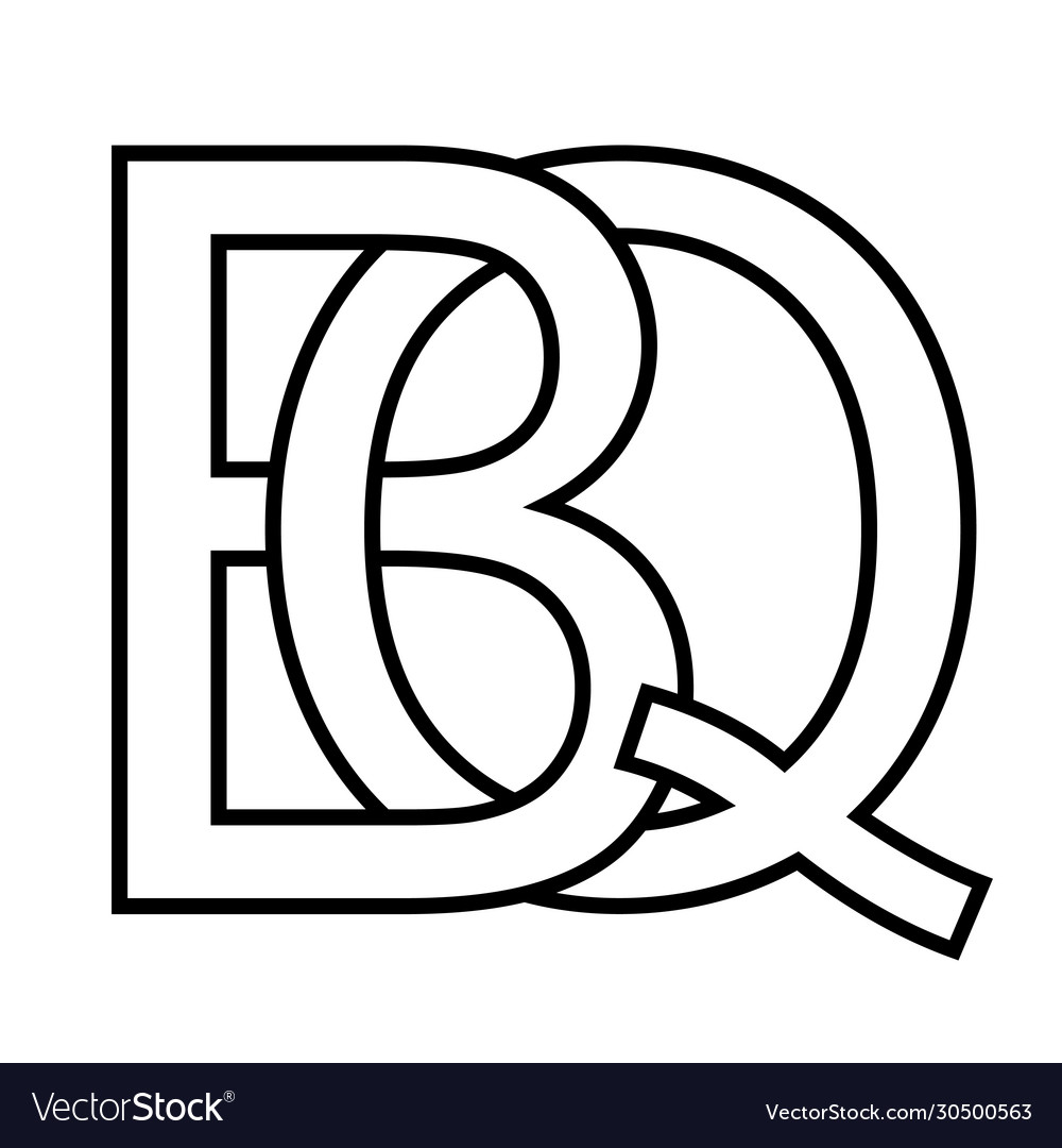 Logo sign bq qb icon sign two interlaced letters b