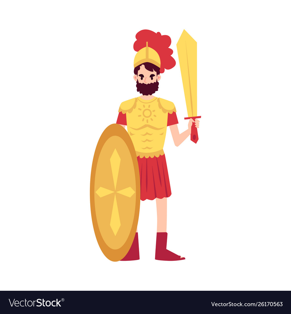 Man Or Ares Greek God Stands In Armor Holding