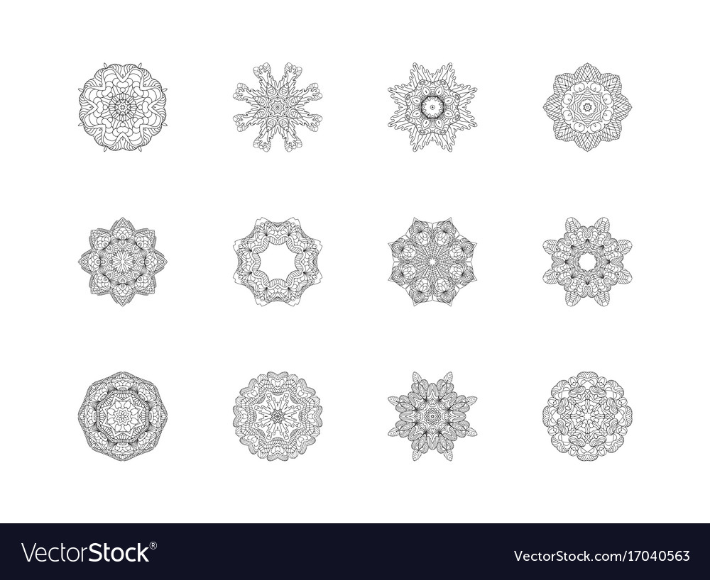 Mandala patterns set round ornament