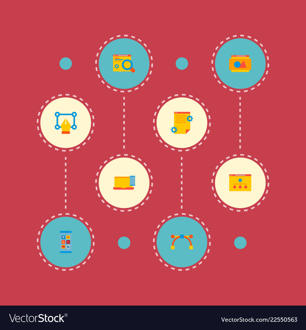 Set of website icons flat style symbols with