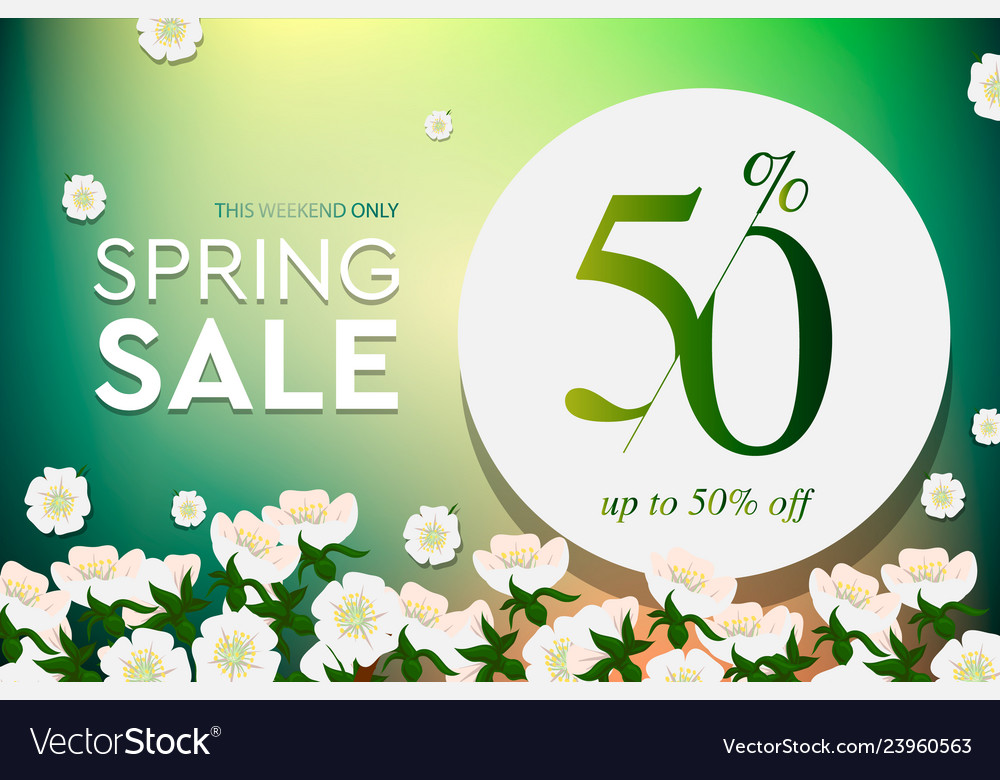Spring sale poster up to 50 off