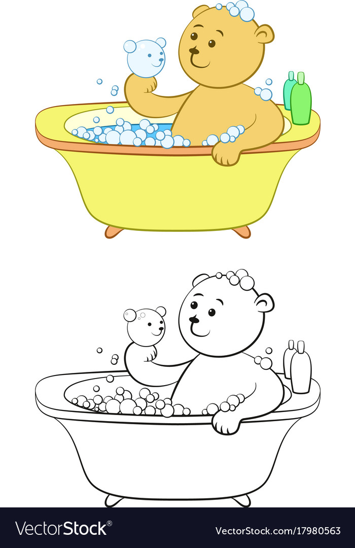 Teddy bear washes in the bath