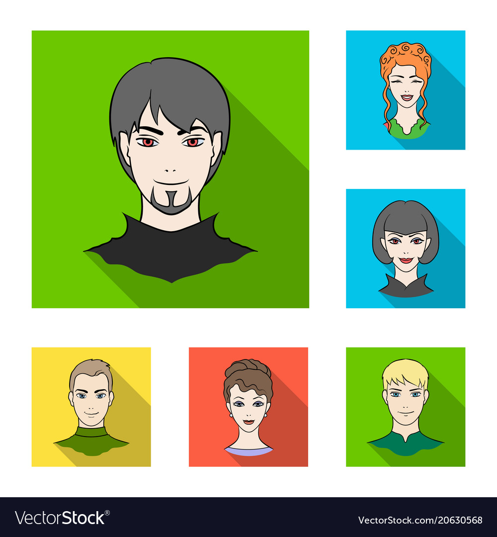 Avatar and face flat icons in set collection for