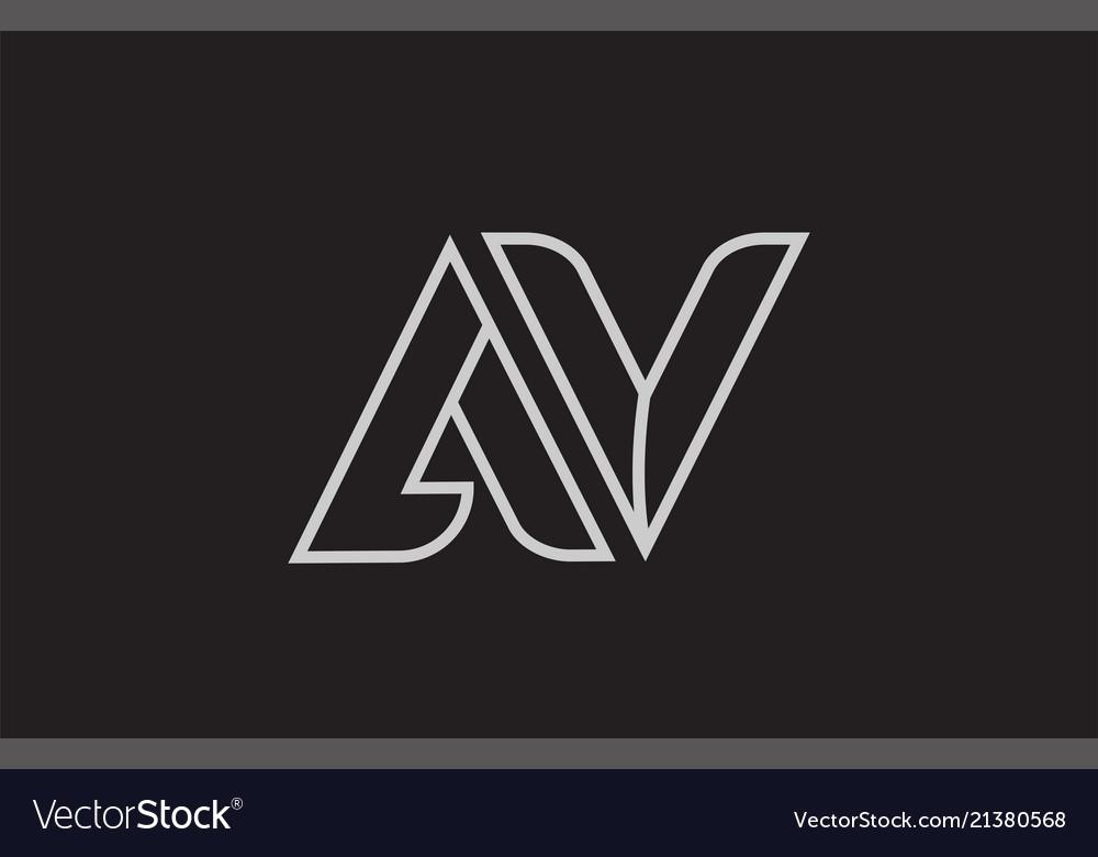 Black And White Alphabet Letter Av A V Logo Vector Image