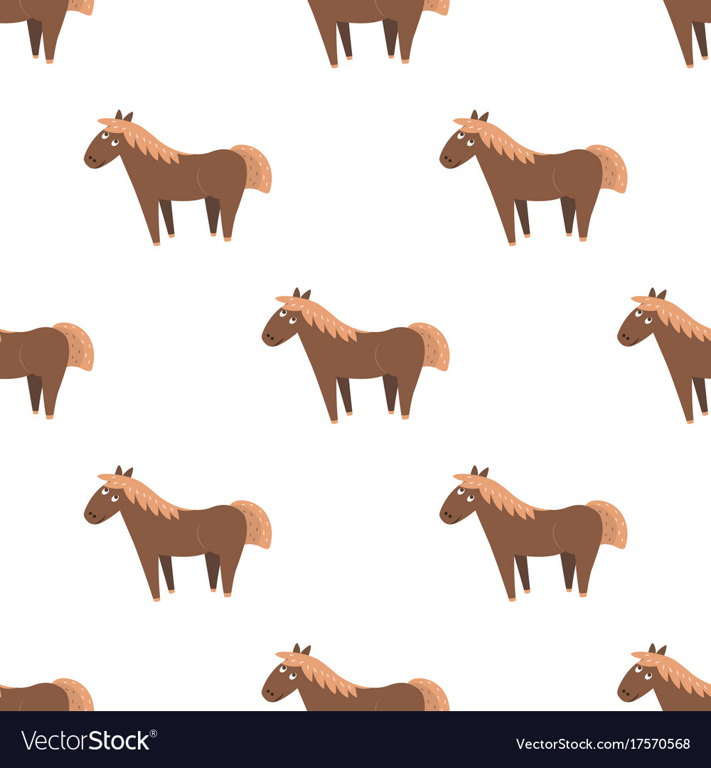 Cartoon Horse Seamless Pattern On White Royalty Free Vector