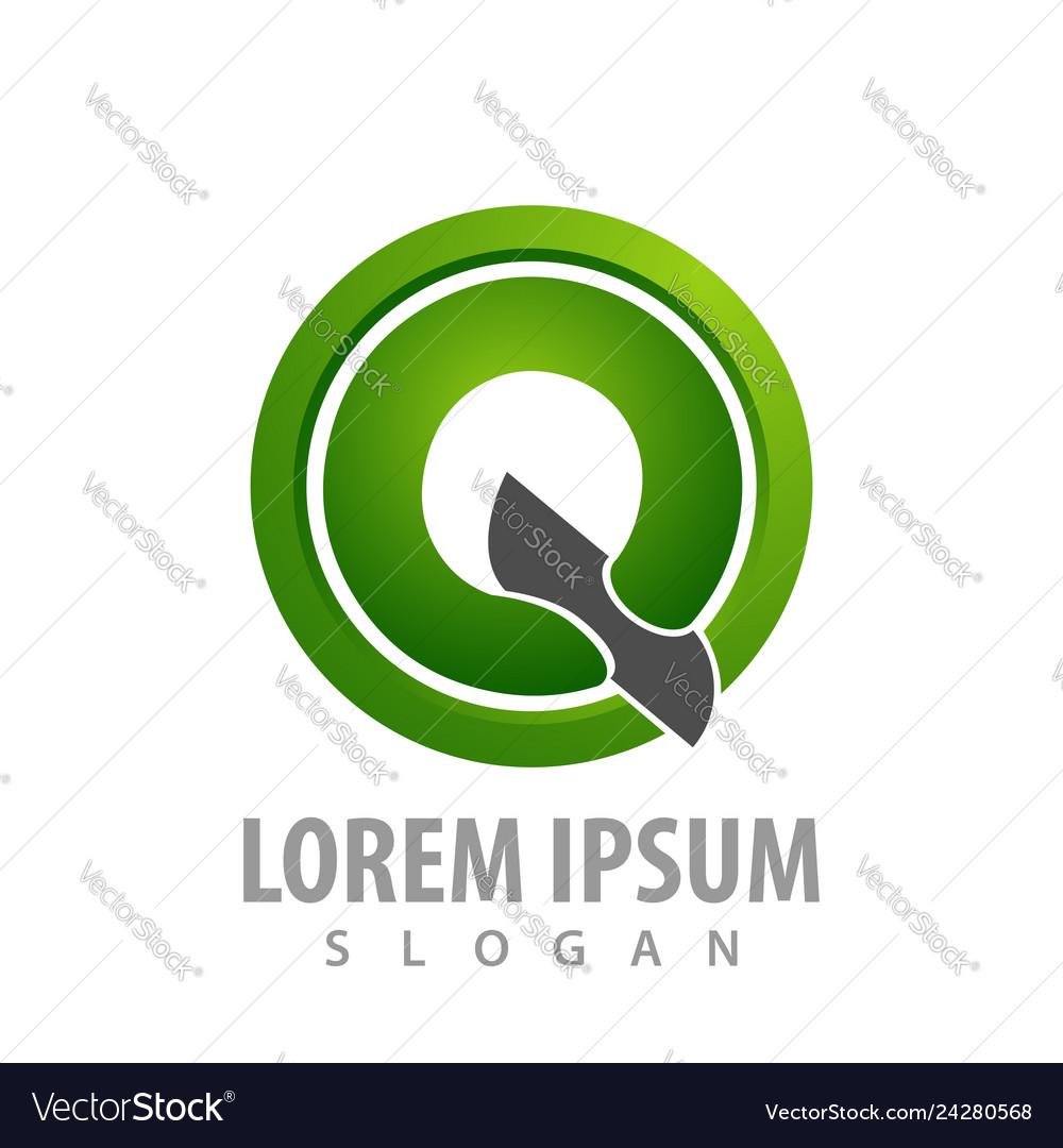 Circle green initial letter q logo concept design